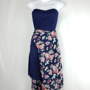 Asymmetric Strapless Floral Dress w/underlining